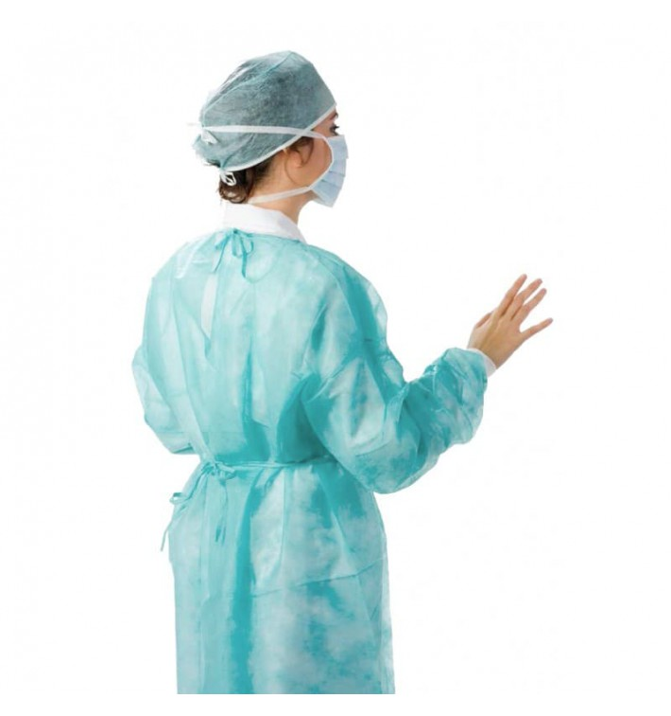 Disposable Lab Coat TST PP Back Closure Tie Belt Blue XL (10 Units)