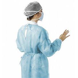 Disposable Lab Coat TST PP Back Closure Tie Belt Blue XL (100 Units)
