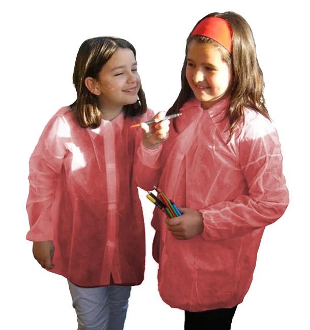 Disposable Kids Lab Coat TST PP Velcro Red (50 Units)