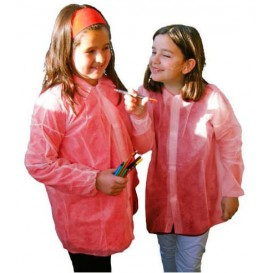 Disposable Kids Lab Coat TST PP Velcro Red (1 Unit)