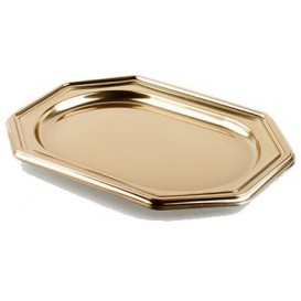 Plastic Tray Octogonal Shape Gold 36x24 cm (5 Units)