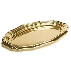 Plastic Platter Oval Shape Gold 46x30 cm (5 Units)