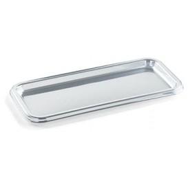 Plastic Platter Rectangular Shape Silver 35X16 cm (5 Units)