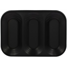 "Plastic Tray Microwavable ""X-Table"" 3C Black 33x23cm (30 Units)"
