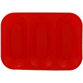 """Plastic Tray Microwavable """"X-Table"""" 3C Red 33x23cm (2 Units)"""