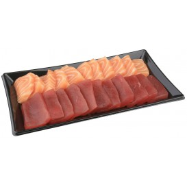 Plastic Platter Rectangular Shape Black 12x22cm (50 Units)