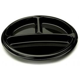 Plastic Plate Round Shape 3C Black 26 cm (250 Units)