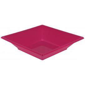 Plastic Plate Deep Square shape Fuchsia 17 cm (750 Units)