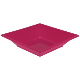 Plastic Plate Deep Square shape Fuchsia 17 cm (25 Units)