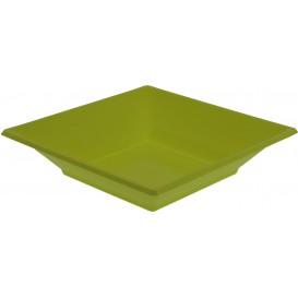 Plastic Plate Deep Square shape Pistachio Green 17 cm (5 Units)
