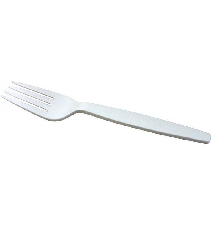 Cornstarch Fork PLA Biodegradable White 16cm