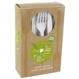 Cornstarch Fork PLA Biodegradable White 16cm (500 Units)
