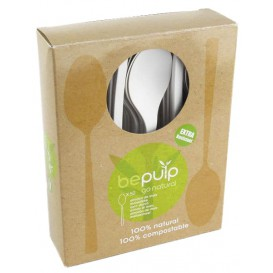 Cornstarch Spoon PLA Biodegradable White 15,5cm (50 Units)