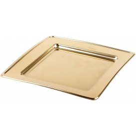 Plastic Plate PET Square shape Gold 24cm (6 Units)