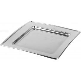 Plastic Plate PET Square shape Silver 18cm (180 Units)