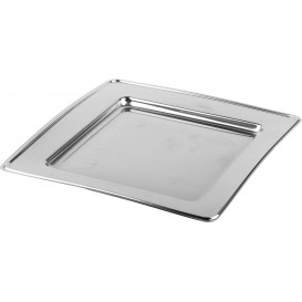 Plastic Plate PET Square shape Silver 30cm (120 Units)