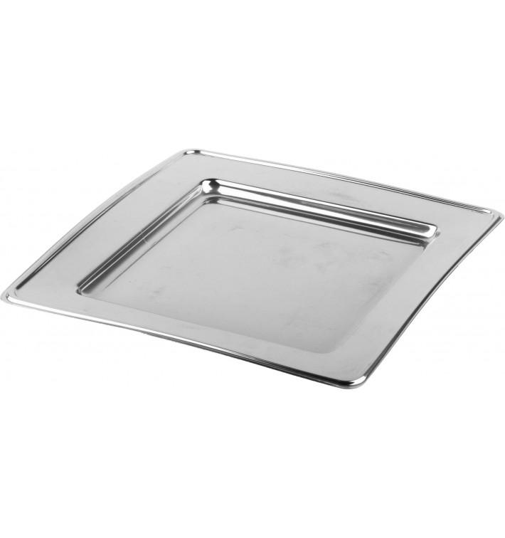 Plastic Plate PET Square shape Silver 30cm (120 Units)