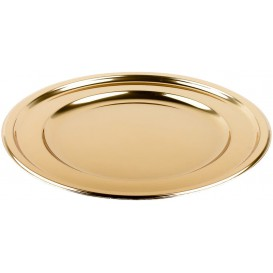 Plastic Plate PET Round shape Gold Ø18,5 cm (6 Units)