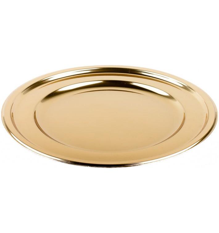 Plastic Plate PET Round shape Gold Ø18,5 cm (6 Units)