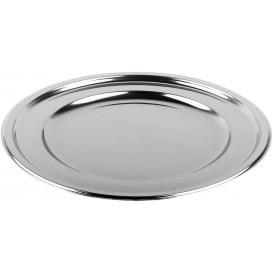 Plastic Plate PET Round shape Silver Ø18,5 cm (6 Units)