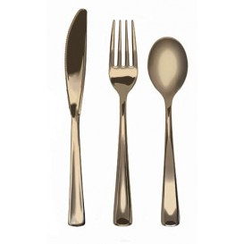 Cutlery Kit Fork, Knife y Spoon Gold Metallized (1 Unit)