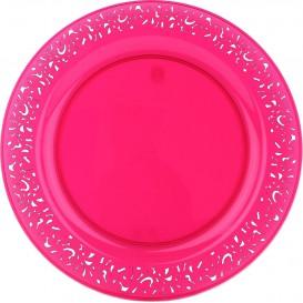 "Plastic bord Rond vormig ""Lace"" framboos 19cm (4 eenheden)"