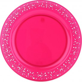 "Plastic Plate Round shape ""Lace"" Raspberry 23cm (4 Units)"
