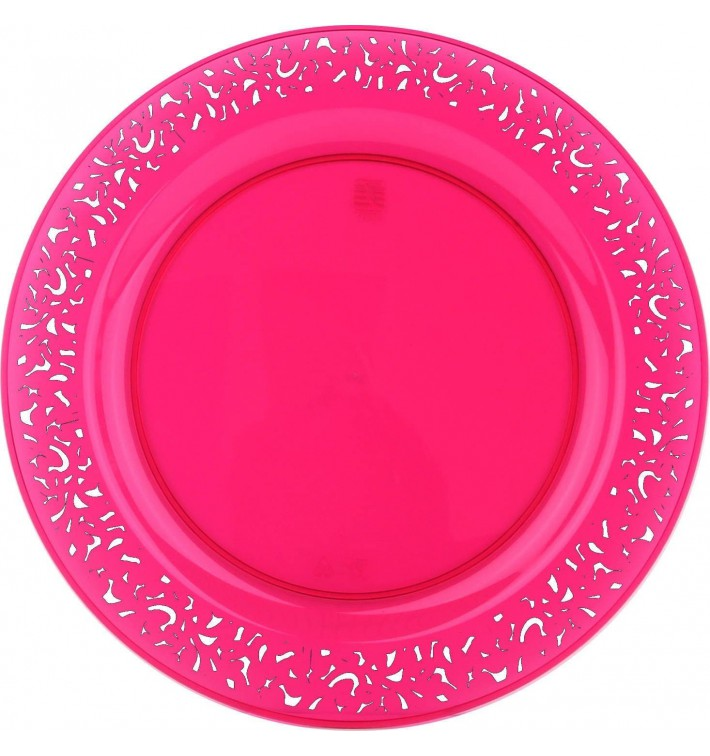 "Plastic Plate Round shape ""Lace"" Raspberry 23cm (4 Units)"