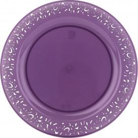 """Plastic Plate Round shape """"Lace"""" Eggplant 19cm (88 Units)"""