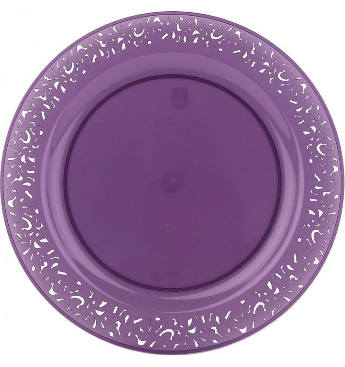 """Plastic Plate Round shape """"Lace"""" Eggplant 23cm (4 Units)"""