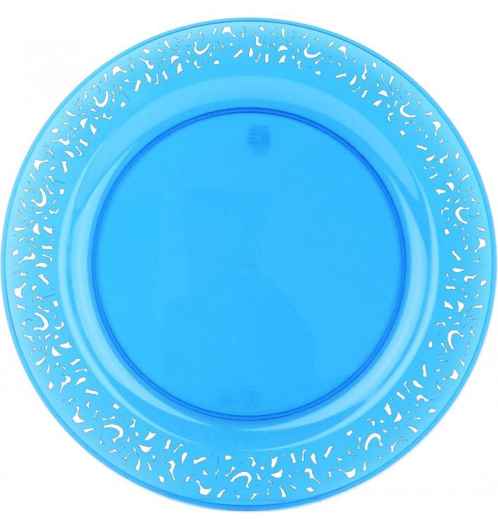 "Plastic Plate Round shape ""Lace"" Turquoise 19cm (88 Units)"