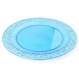 "Plastic Plate Round shape ""Lace"" Turquoise 23cm (4 Units)"