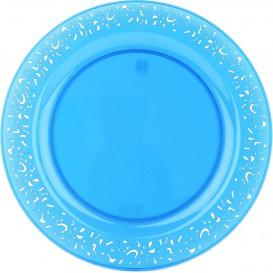 "Plastic bord Rond vormig ""Lace"" turkoois 23cm (4 eenheden)"