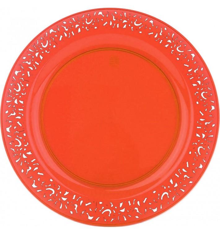"""Plastic Plate Round shape """"Lace"""" Orange 19cm (4 Units)"""