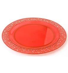 """Plastic Plate Round shape """"Lace"""" Orange 19cm (88 Units)"""