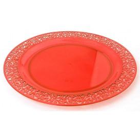 """Plastic Plate Round shape """"Lace"""" Orange 23cm (88 Units)"""