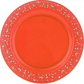 "Plastic Plate Round shape ""Lace"" Orange 23cm (88 Units)"
