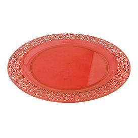 """Plastic Plate Round shape """"Lace"""" Orange 23cm (4 Units)"""