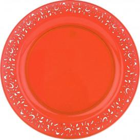 "Plato Plastico Redondo ""Mandala"" Naranja 23cm (4 Uds)"
