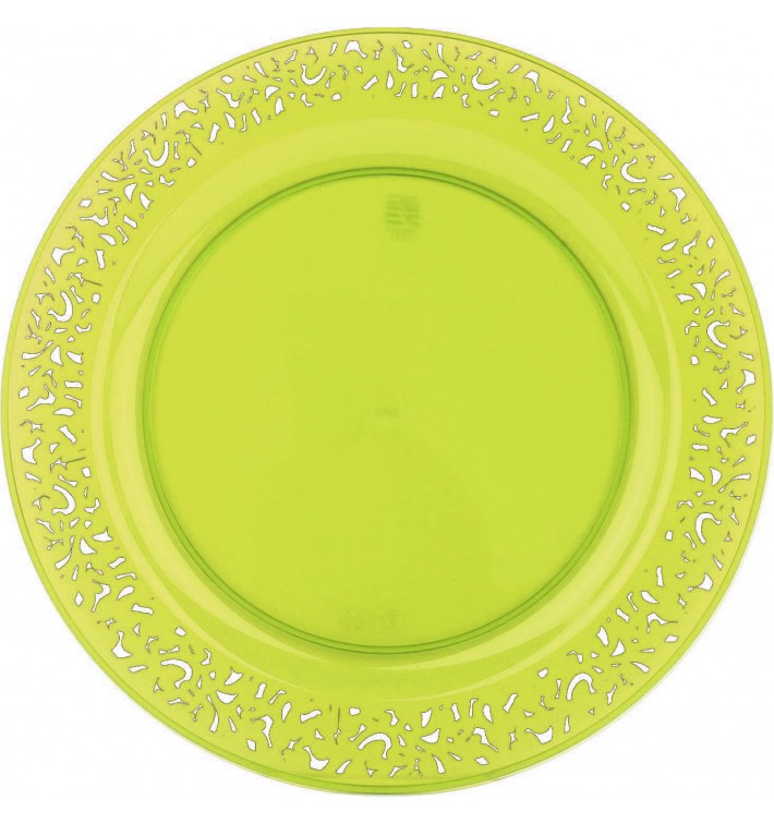 "Plastic Plate Round shape ""Lace"" Green 19cm (4 Units)"