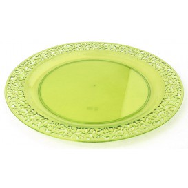 "Plastic Plate Round shape ""Lace"" Green 19cm (88 Units)"