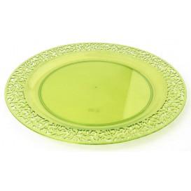 "Plastic Plate Round shape ""Lace"" Green 23cm (4 Units)"