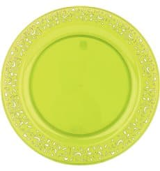 "Plastic Plate Round shape ""Lace"" Green 23cm (4 Units)"