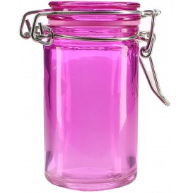 Glass Storage Jar Airtight Lilac 70ml Ø4,5x8cm (8 Units)