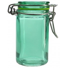 Glass Storage Jar Airtight Green 70ml Ø4,5x8cm (8 Units)