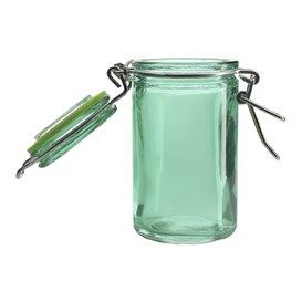 Glass Storage Jar Airtight Green 70ml Ø4,5x8cm (8 Units)