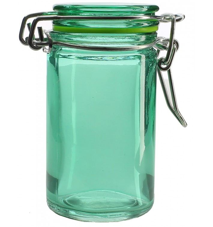 Glass Storage Jar Airtight Green 70ml Ø4,5x8cm (32 Units)