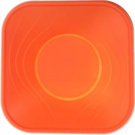 "Plastic Bowl PP Square shape ""X-Table"" Orange 18x18cm (120 Units)"