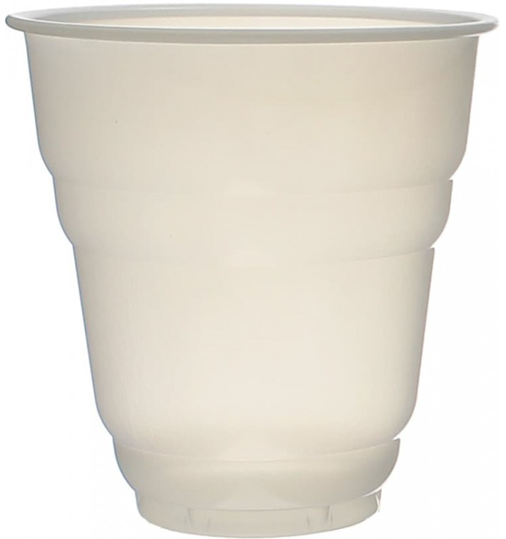 "Plastic Cup PS Vending ""Design"" White Satin 166ml Ø7,0cm (100 Units)"