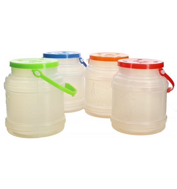 Plastic Milk Container with Handle and Lid 500 ml (100 Units)